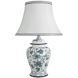 Decorative Flower Patterned Table Lamp With White Shade 4144-35BW