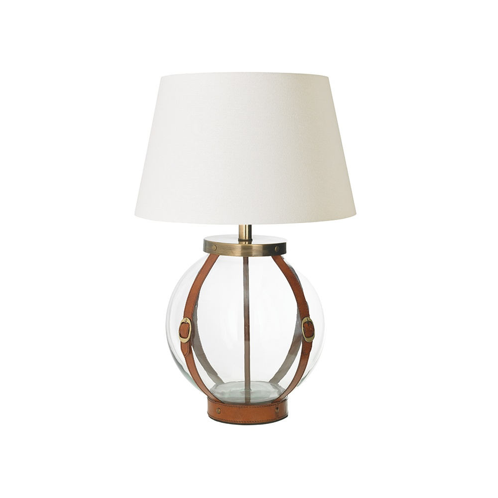 Endon Decorative Glass And Leather Table Lamp With Ivory