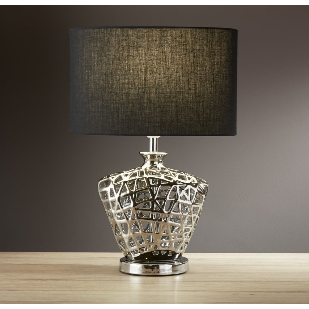 Searchlight Decorative Table Lamp In Chrome Finish With Black Oval Shade 4552CC