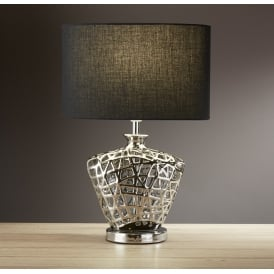Decorative Table Lamp In Chrome Finish With Black Oval Shade 4552CC