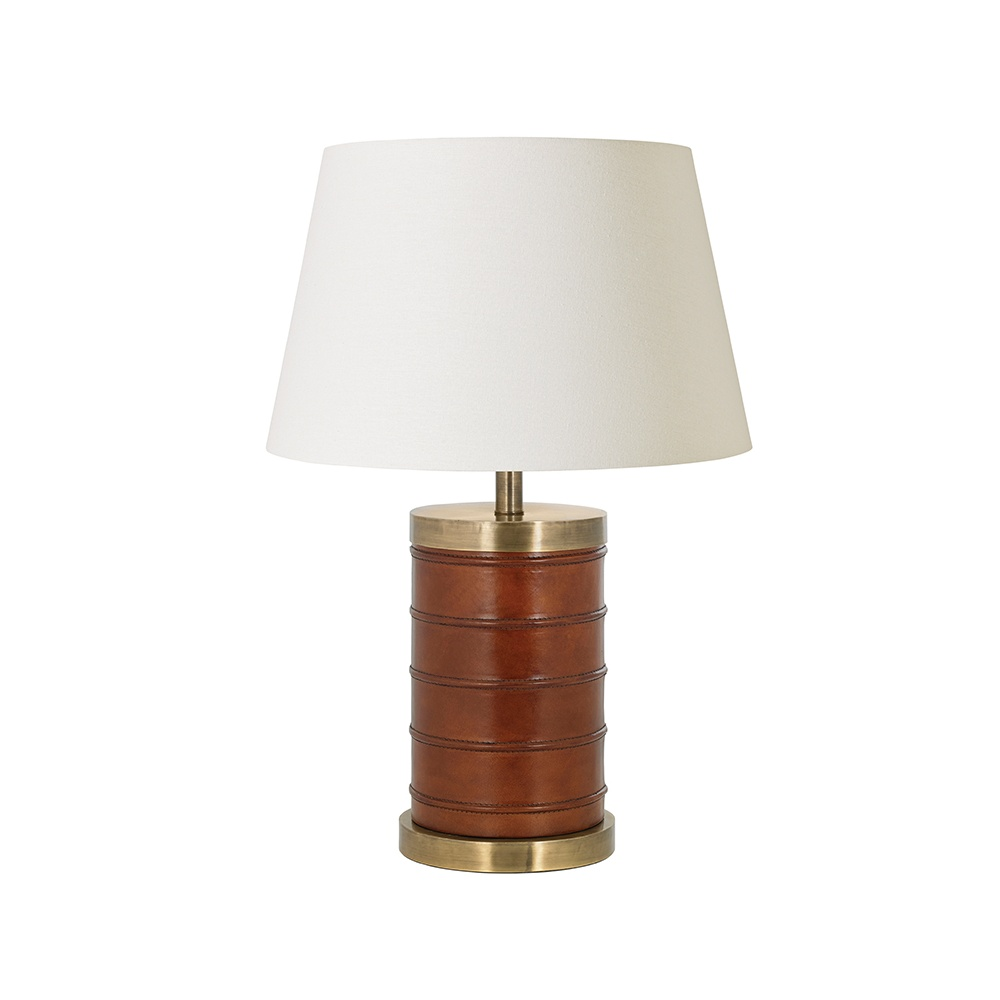Endon Decorative Tan Leather Table Lamp With Ivory Shade