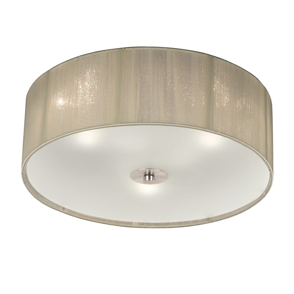 Desire small flush ceiling light with cream shade and glass diffuser fl2341 3