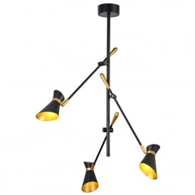 Diablo Modern 3 Light Ceiling Pendant In Black And Gold Finish 5943-3BG