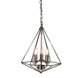 Diamond 3 Light Ceiling Pendant In Antique Silver Finish 1443-3SI