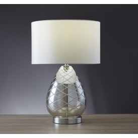 Diamond Cut Amber Glass Table Lamp With Faux Silk Ivory Shade 3403CL