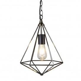 Diamond Single Ceiling Pendant Light In Antique Silver Finish 1441SI