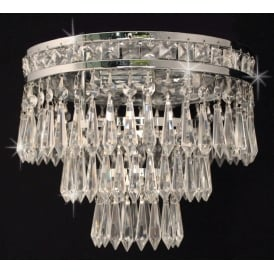 Dian Crystal 3 Light Crystal Flush Light In Nickel Finish CF311221/03/PL/N