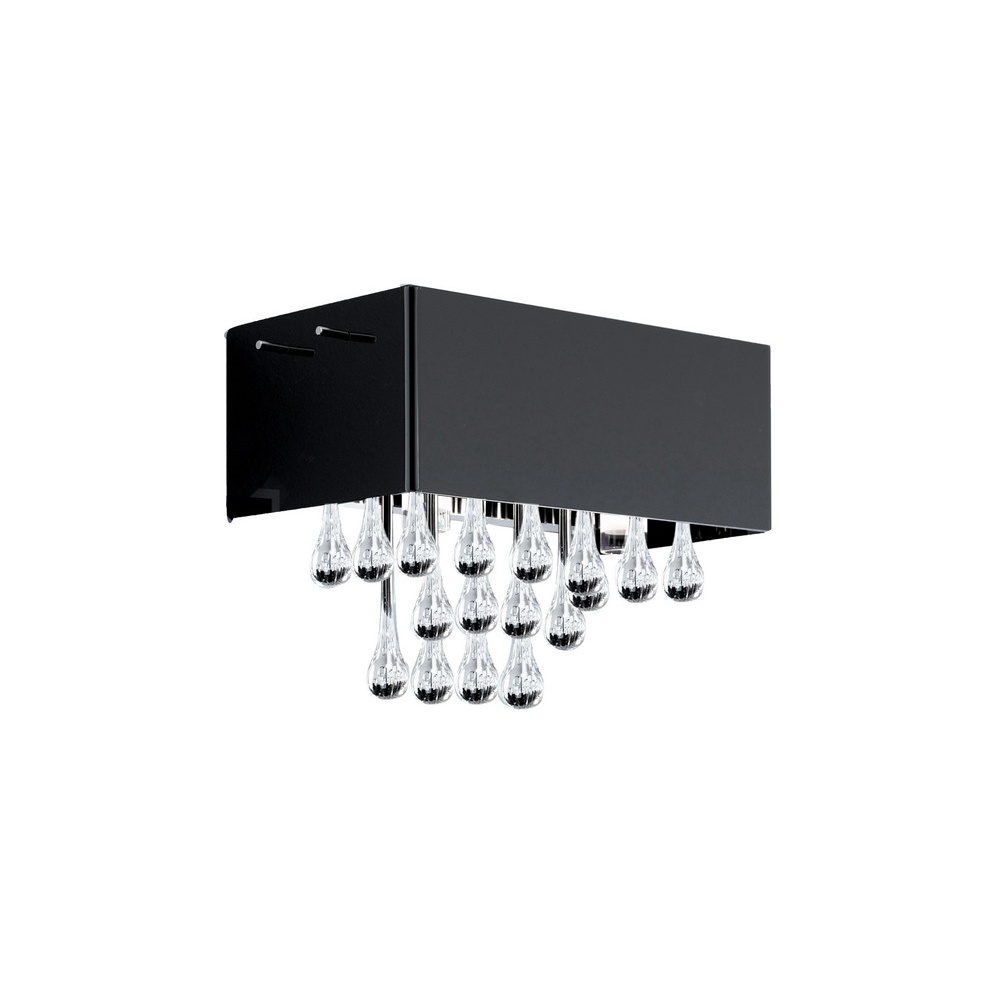 black crystal lighting. 88204 Camini 8 Light Glass And Black Crystal Wall Lighting T