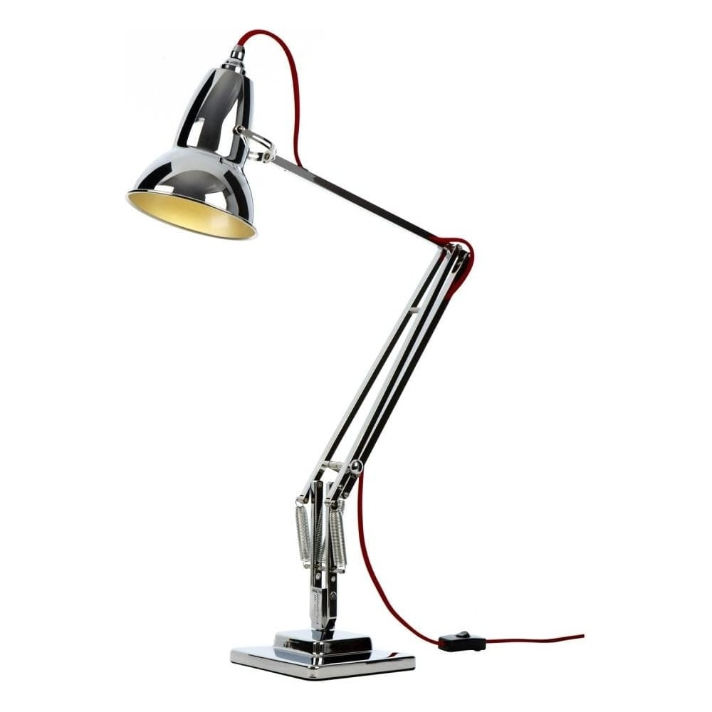 Modern black and silver ceramic pebbles table lamp haysoms - Duo1227 Chrome Desk Lamp With Red Cable
