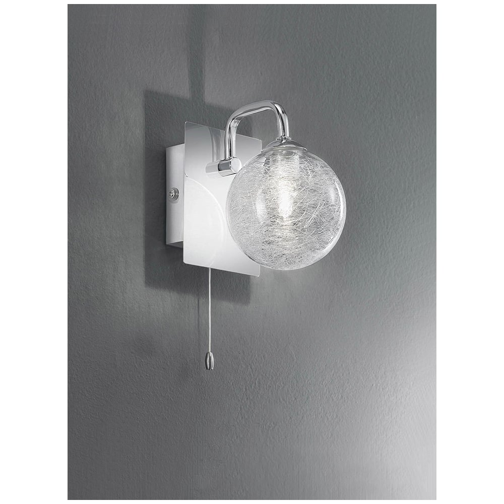 FL2313/1 Switched 1 Light Chrome and Glass Bathroom Wall Light ...