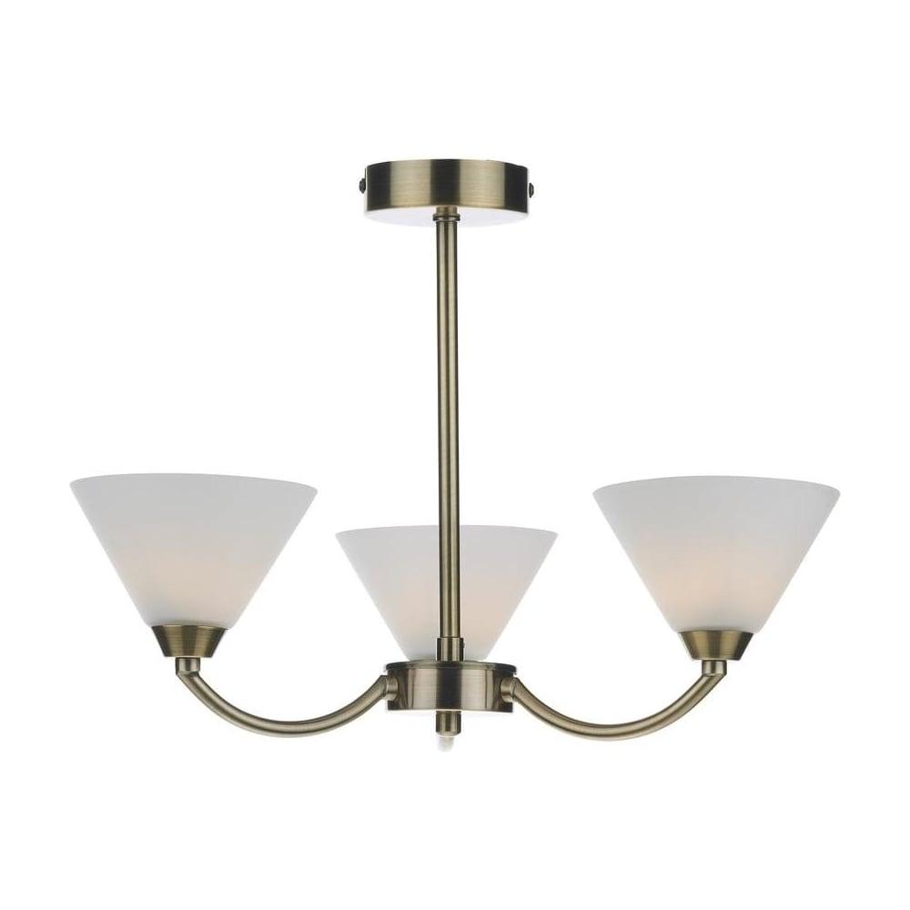 HEN0375 Henley Modern 3 Light Antique Brass Semi Flush Ceiling Light