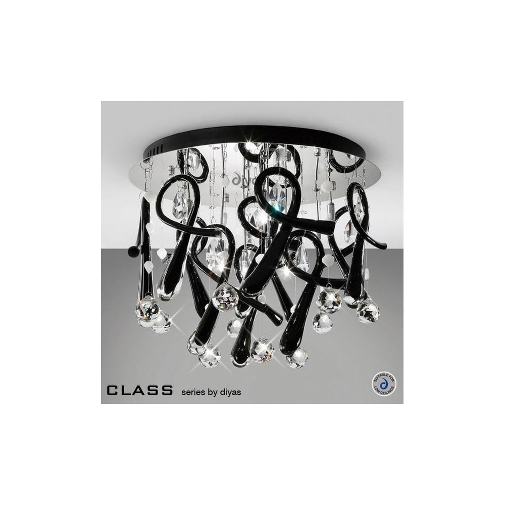 IL50381 Class Crystal 10 Light Flush Ceiling Light, Black