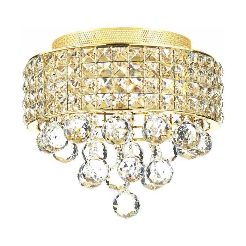 matrix 3 light gold and crystal flush ceiling light mat5335