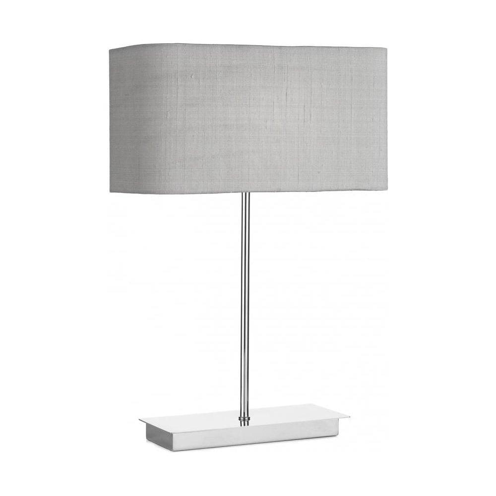 Piza Table Lamp Silver Grey Shade White Lining Piz4050 Zof1239 Wh