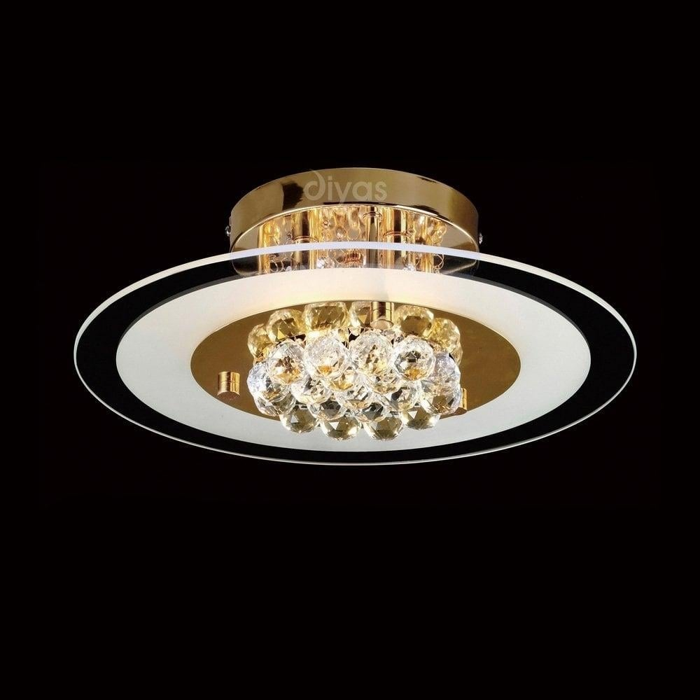 diyas lighting il32021 delmar 4 light gold and crystal flush ceiling lamp diyas lighting from. Black Bedroom Furniture Sets. Home Design Ideas