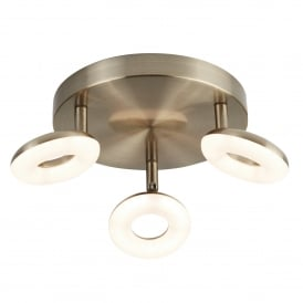 Donut Quirky LED Plate Ceiling Spotlight In Antique Brass Finish With Frosted Difuser 8903AB