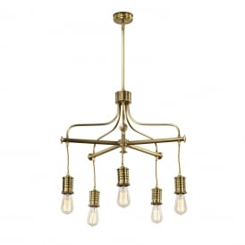 Douille 5 Light Ceiling Chandelier In Aged Brass Finish DOUILLE5 AB