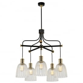 Douille 5 Light Ceiling Chandelier In Black And Polished Brass DOUILLE5 BPB