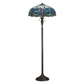 Dragonfly Classic Tiffany Floor Lamp With Blue Coloured Shade 64069