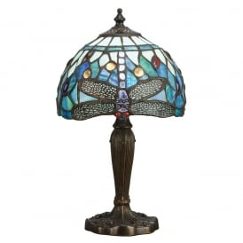 Dragonfly Classic Tiffany Intermediate Table Lamp With Blue Coloured Shade 64088