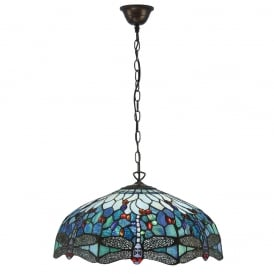 Dragonfly Classic Tiffany Large Ceiling Pendant With Blue Coloured Shade 66148