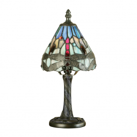 Dragonfly Classic Tiffany Mini Table Lamp With Blue Coloured Shade 64098