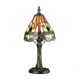 Dragonfly Classic Tiffany Mini Table Lamp With Flame Coloured Shade 64100