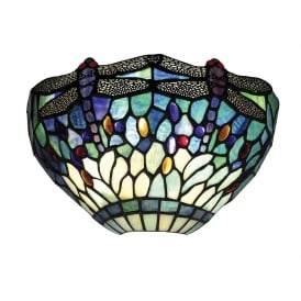 Dragonfly Classic Tiffany Wall Light With Blue Coloured Shade 64102