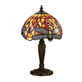Dragonfly Flame Tiffany Intermediate Single Table Lamp In Bronze Finish 64091