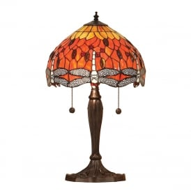 Dragonfly Flame Tiffany Small Table Lamp In Bronze Finish 64092