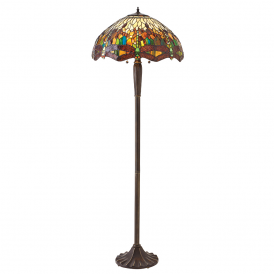 Dragonfly Tiffany Floor Lamp With Green Coloured Shade 70941