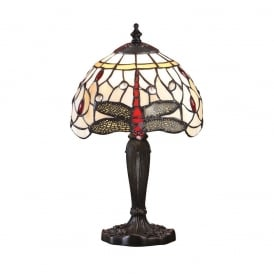 Dragonfly Tiffany Intermediate Table Lamp With Beige Coloured Shade 64087