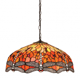 Dragonfly Tiffany Large Ceiling Pendant Light With Flame Coloured Shade 64082