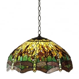 Dragonfly Tiffany Large Ceiling Pendant Light With Green Coloured Shade 64083