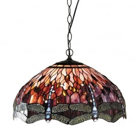 Dragonfly Tiffany Large Ceiling Pendant Light With Red Coloured Shade 64084