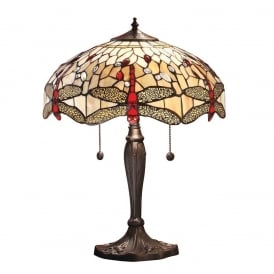 Dragonfly Tiffany Medium Table Lamp With Beige Coloured Shade 64085