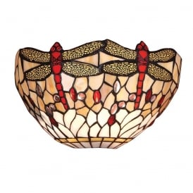 Dragonfly Tiffany Wall Light With Beige Coloured Shade 64101