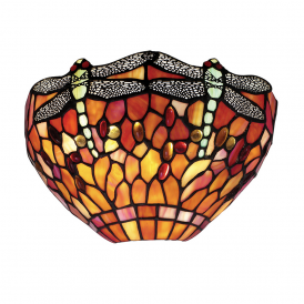 Dragonfly Tiffany Wall Light With Flame Coloured Shade 64103