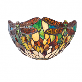 Dragonfly Tiffany Wall Light With Green Coloured Shade 64104
