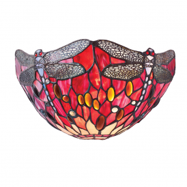 Dragonfly Tiffany Wall Light With Red Coloured Shade 64105