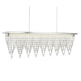 Drape Medium Ceiling Bar Pendant Light In Chrome With Waterfall Drops 8857CC