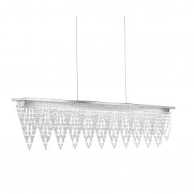 Drape Stunning Ceiling Bar Pendant Light In Chrome With Waterfall Drops 8868CC