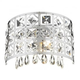 DUC0750 Duchess 1 Light Chome And Crystal Wall Lamp