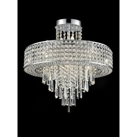 Duchess Stunning 12 Light Crystal Semi Flush Ceiling Light In Polished Chrome Finish FL2381-12