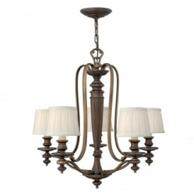 Dunhill Chandelier in Royal Bronze Finish and Fabric Shades HK/DUNHILL5