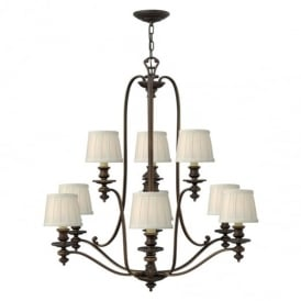 Dunhill Chandelier in Royal Bronze Finish and Fabric Shades HK/DUNHILL9