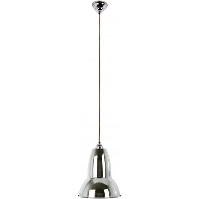 Anglepoise DUO Pendant MAXI in Bright Chrome, Red Cable