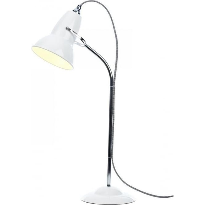 Anglepoise DUO Table Lamp in Alpine White, White/Black Cable