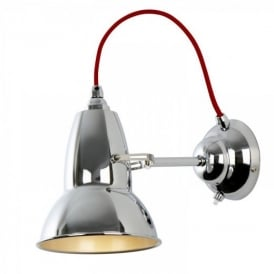 DUO Wall Light in Bright Chrome, Red Cable