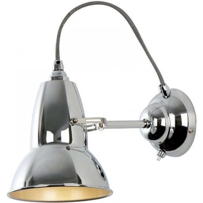 DUO Wall Light in Bright Chrome, White/Black Cable